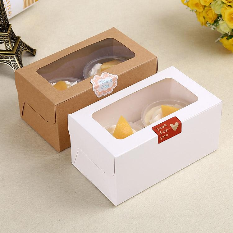 100pcs 16x9x7.5cm Muffin packaging 2 cupcake boxes,White cardboard gift cake box with pvc window,cupcake packing craft paper box box box box with windowbox gift box - AliExpress