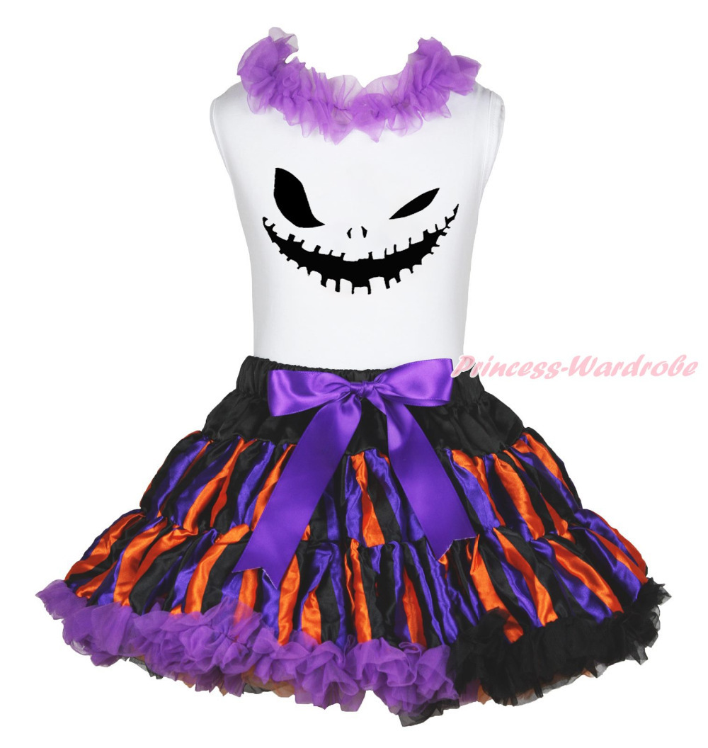 Ghost Face White Top Shirt Halloween Stripe Pettiskirt Skirt Girls Outfit 1-8Y MAPSA0850 halloween rhinestone cat white top dusty pink skirt girls cloth outfit set 1 8y mapsa0785
