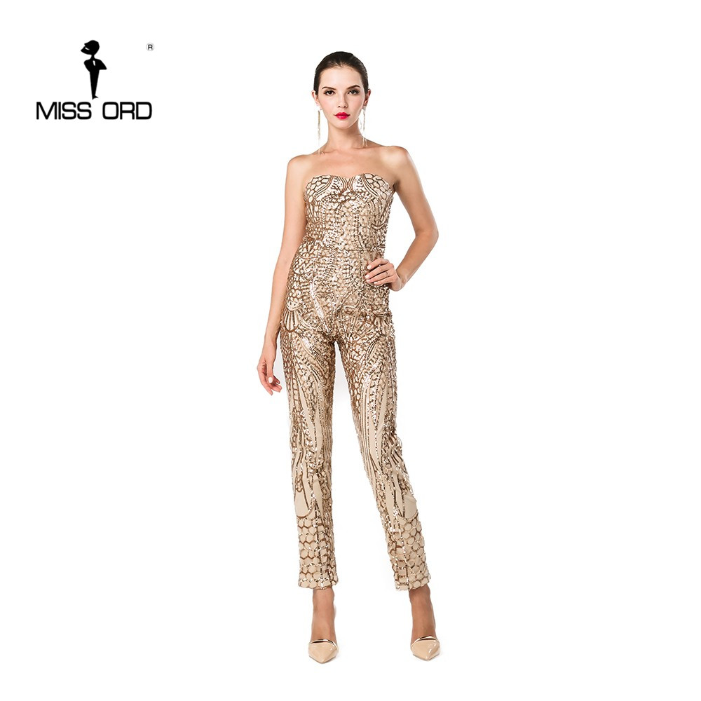 MISSORD 2019 Sexy Bra sleveeless halter sequin   jumpsuit   FT4686