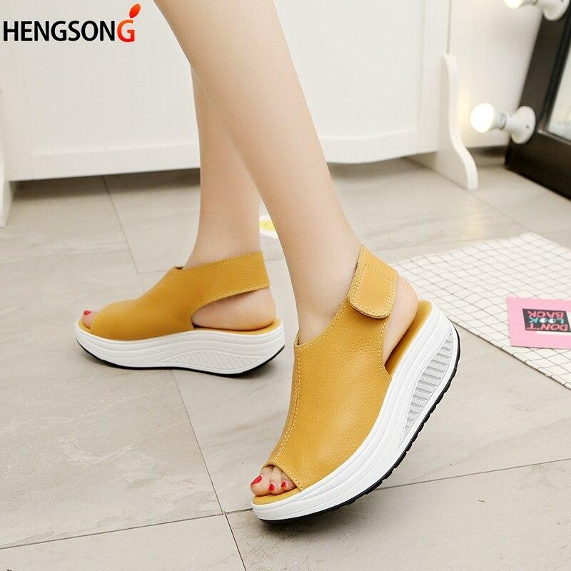 yellow Las Rv911859 Red Plataforma beige Pendiente 2017 La Zapatos Cuero Moda De Mujeres Verano Mujer Cuñas Cabeza black Sandalias xwnHTgF7qf