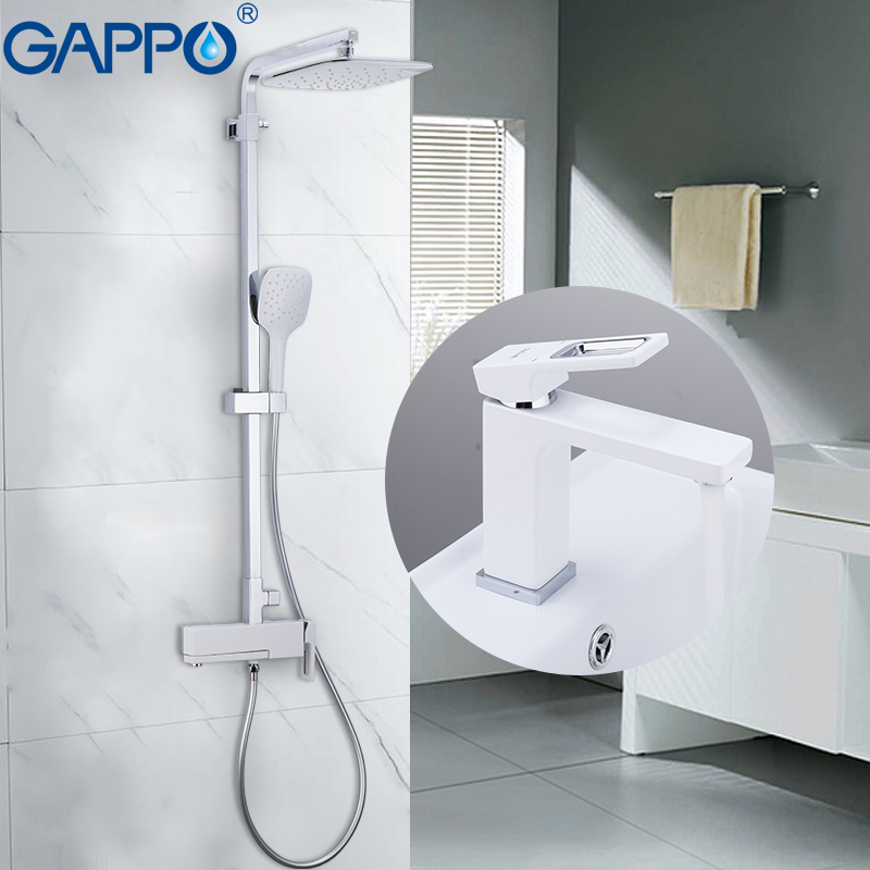 GAPPO Sanitary Ware Suite rainfall shower set chrome bathroom bath faucet mixer bathtub tap with basin faucet mitigeur baignoire