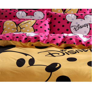 Image 3 - Disney Mickey Maus Bettbezug set 3 oder 4 Stück Volle Twin Einzigen Größe Bettwäsche Set für Kinder Schlafzimmer Dekor bett Leinen