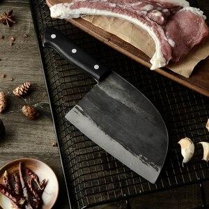 Image 4 - XYj El Yapımı Dövme Çin Kasap Mutfak Bıçağı Yüksek Karbon Çelik Şef bıçağı Kemik Kıyıcı Tam Tang Kolu Bıçak ve Hediye kılıf