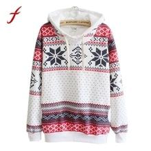 Women Fashion Christmas Snow Hoodie Sweatshirt Jumper Sudaderas Long Sleeve Hooded Pullover hoodies for women Pullover 2018