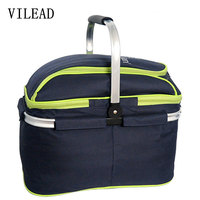 VILEAD 45x28x35cm Outdoor 25L Camping Tourism Portable Folding Picnic Basket with Cover Hand Basket Insulation Picnic Bag Eco