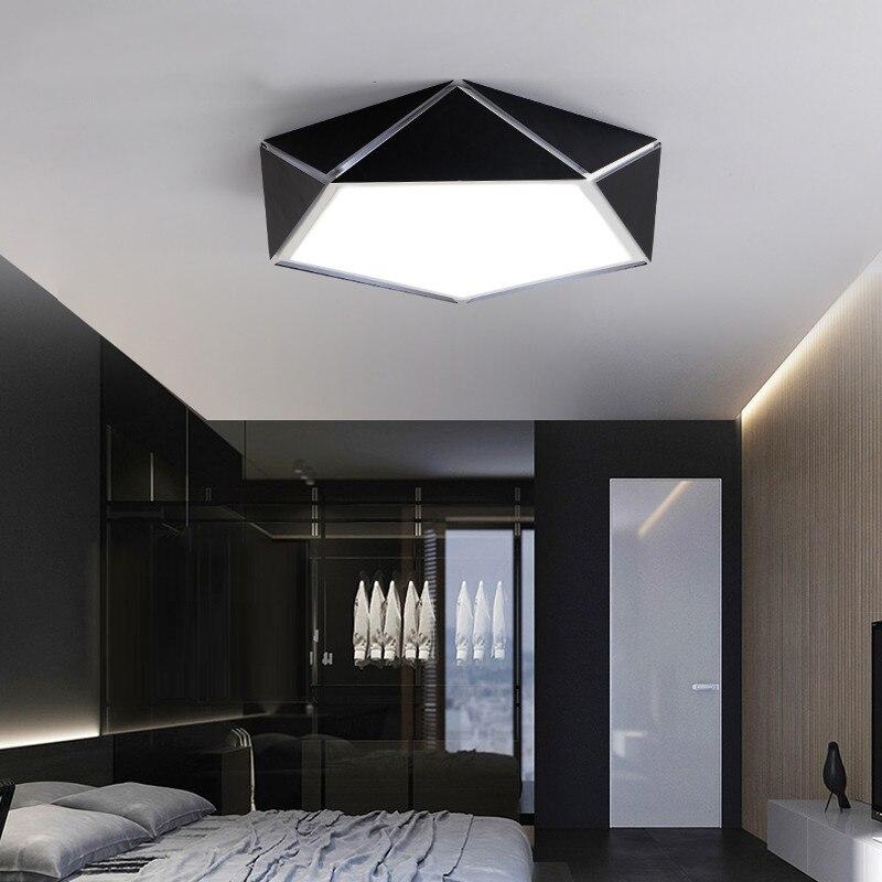Contemporary Korean Colourful Geometric Hexagon Iron Led Ceiling Lamp Light Modern Living Drawing Dining Room Bedroom Lighting
