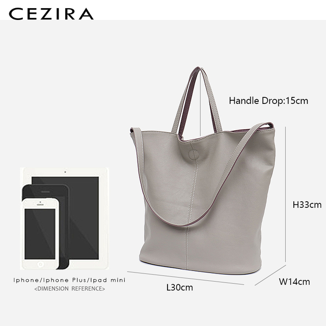 CEZIRA Vegan Leather Casual Fashion Tote Handbags for Girls Two Color Reversible Soft Large Women Shoulder Bag Bucket Handy Bags 5