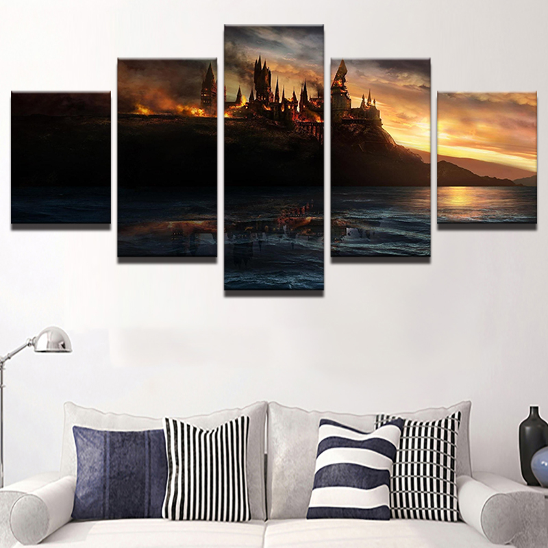 Harry Potter Bedroom Decorating Ideas Modern One Bedroom Apartment Design Black Leather Bedroom Suite Bedroom Colours For Dark Rooms: Painting Canvas 5 Panel Harry Potter Flame Castle Modular