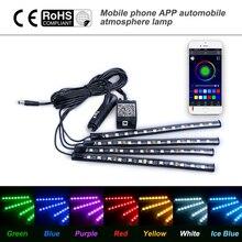 Araba styling dekorasyon işık kablosuz uzaktan/ses kontrolü iç zemin ayak sigara LED atmosfer RGB Neon şerit