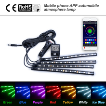 Car styling Decoration Light Wireless Remote/Voice Control Interior Floor Foot Cigarette LED Atmosphere RGB Neon Strip