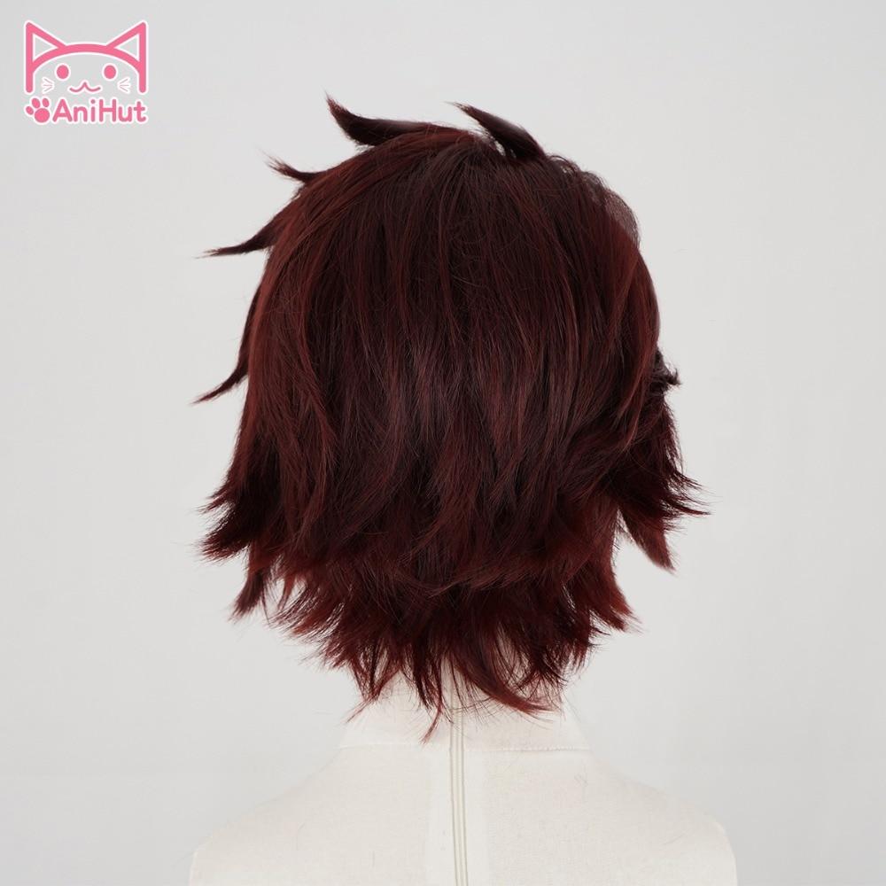 Image 3 - 【AniHut】Kamado Tanjirou Wig Kimetsu no Yaiba Demon Slayer Cosplay Hair Synthetic Heat Resistant Hair Kamado Tanjirou CosplayAnime Costumes   -