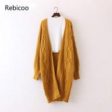 2018 New Women Long Cardigans Autumn Winter Open Stitch Knitting Sweater V neck Oversize Cardigan Coat
