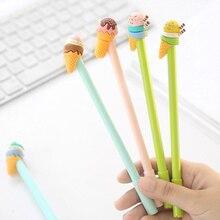 6 pcs Sweet Ice cream gel pen 0.5mm roller ball Black color ink pens Kawaii gift for writing  signature School supplies FB742