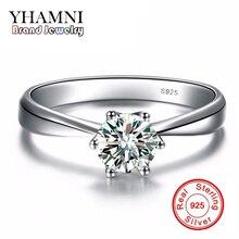 Galaxy 925 anillo de plata esterlina 6mm 1 quilates cz diamond para las mujeres wedding engagement joyería al por mayor anel anéis anillos yh405