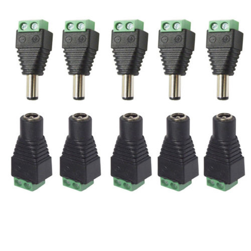 5.5mm X 2.1mm Female Male DC Power Plug Adapter For 5050 3528 5060 Single Color LED Strip And CCTV Cameras