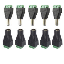 5.5mm x 2.1mm Female Male DC Power Plug Adapter for 5050 3528 5060 Single Color LED Strip and CCTV Cameras(China)