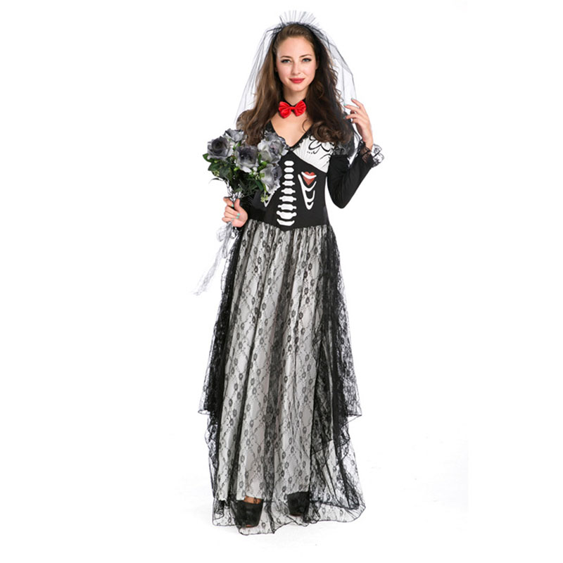 Cosplay Uniform 2018 Halloween Party Black White Hell Ghost Bride Clothing Game Uniform Sexy Costume Lingerie