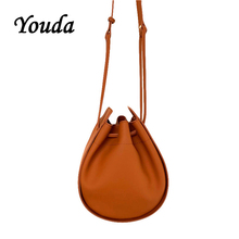 Youda Solid Color moda torba na ramię w stylu Retro panie Messenger torby wiadro oryginalny styl materiał PU Casual torebka damska