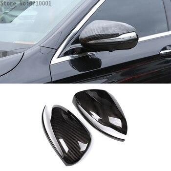 Z włókna węglowego dla Mercedes Benz C w205 E W213 GLC klasy X253 klasa S w222 z tworzywa sztucznego ABS samochód lusterko wsteczne lustro pokrywa wykończenia dla LHD