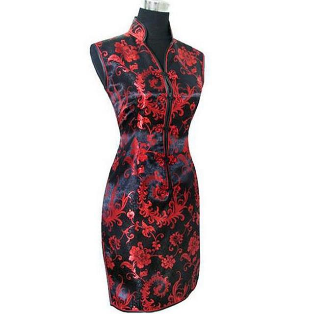Black Red Chinese Ladies Silk Satin Cheongsam Fashion Mini Qipao Novelty V-Neck Slim Dress Flower Size S M L XL XXL XXXL WC012
