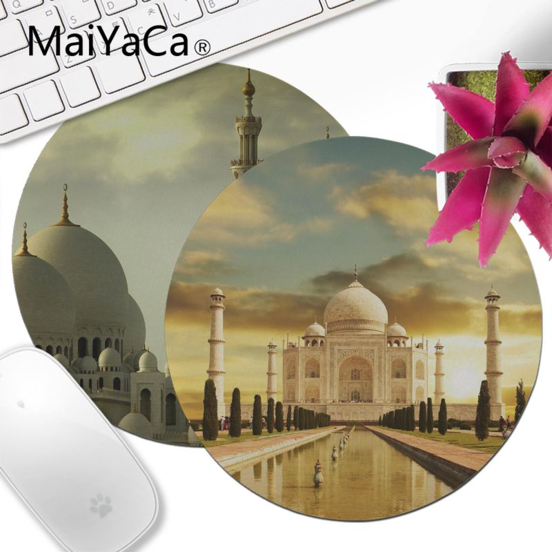 MaiYaCa 2018 New Muslim architecture building Laptop Gaming Lockedge ousepad Comfort small round Mouse Mat Gaming Mouse pad