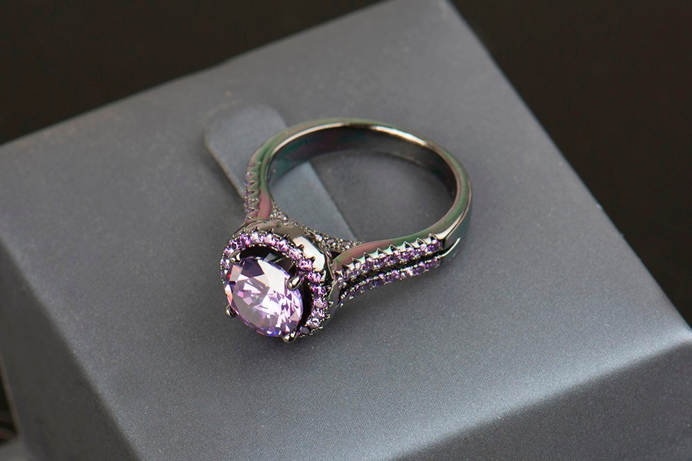 R&J 2016 Women Fashion Purple Crystal Ring 5A Zircon Jewelry 10KT - Fashion Jewelry - Photo 5