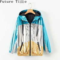 Future Time Holographic Hooded Jacket Women Autumn Patchwork Zippers Hat Coats Z018 New Female Casual Long Sleeve Loose Jackets