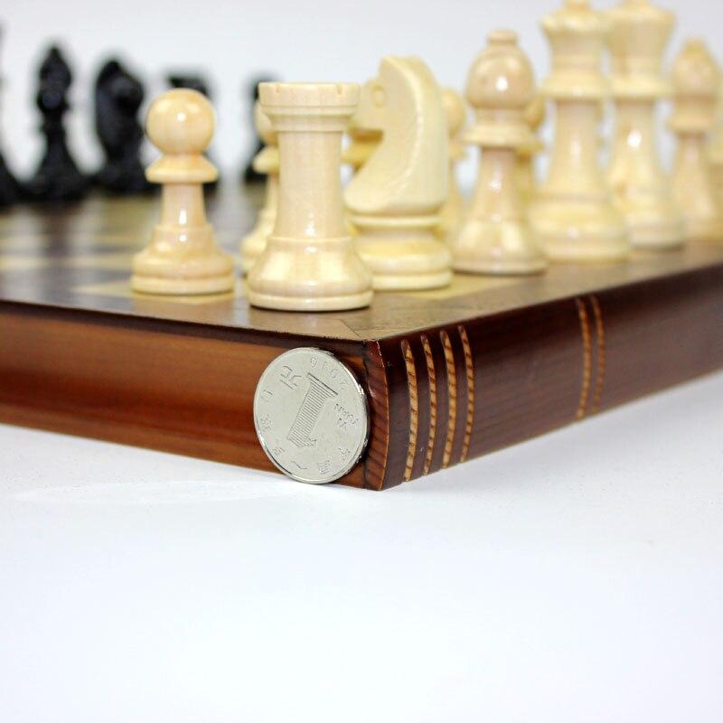 High Grade Coffee Lattice Books Shape Folding Wooden Table Box Chess Set King 75mm Wood Solid Chessman Board Games Children Gift 5