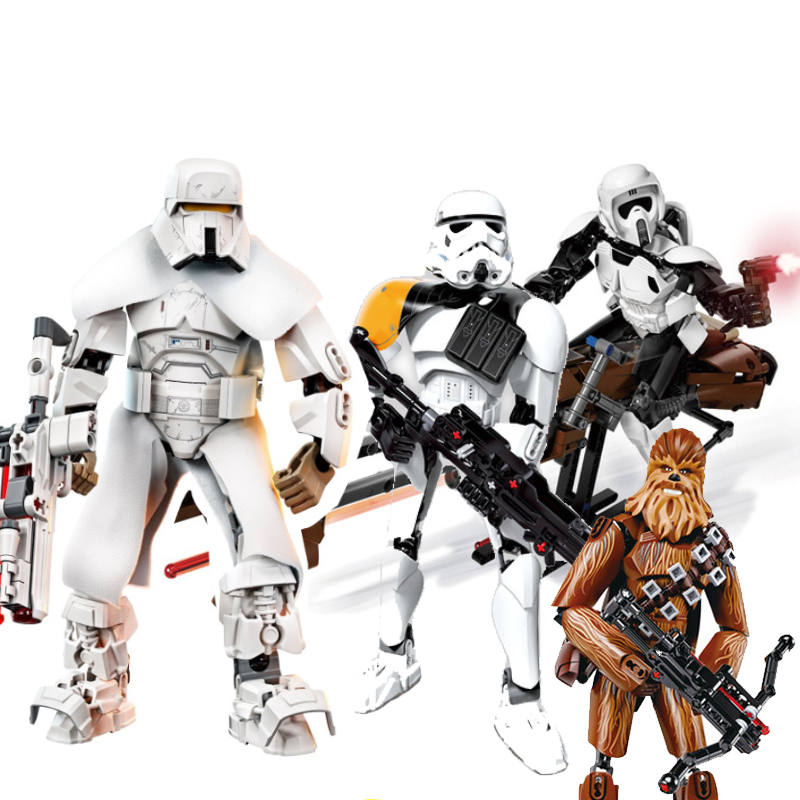 Solo Star Wars Legoings Darth Maul Chewbacca Jango Phasma Jyn Erso K-2SO Darth Vader Grievous Figure Building Blocks star wars figures jedi chewbacca han solo darth vader leia legoing jango fett obi wan models & building toys blocks for children