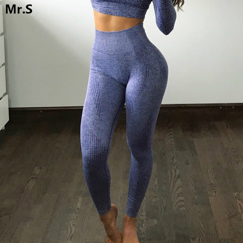 Women Blue Seamless Leggings Tummy Control Yoga Leggings High Waist Booty Leggings Sport Fitness Gym Leggings Athletic Tights(China)