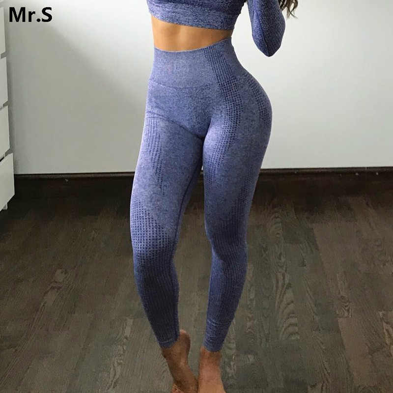 Women Blue Seamless Leggings Tummy Control Yoga Leggings High Waist Booty Leggings Sport Fitness Gym Leggings Athletic Tights