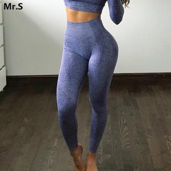 Kobiety niebieskie bezszwowe legginsy kontrola brzucha joga legginsy wysokiej talii Booty legginsy Sport Fitness legginsy gimnastyczne getry sportowe tanie i dobre opinie Le Nakai Elastyczny pas NYLON spandex WOMEN Pasuje prawda na wymiar weź swój normalny rozmiar Yoga Kostki długości spodnie