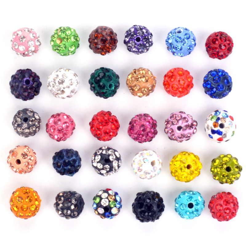 Jewelry & Accessories Charitable New Arrival 50pcs 10mm Shamballa Beads Crystal Disco Ball Beads Shambhala Spacer Beads,shamballa Bracelet Crystal Clay Beads Colours Are Striking