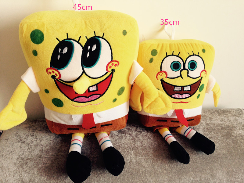 45cm Sponge Bob Baby Toy Spongebob And Patrick Plush Toy Soft Anime Cosplay Doll For Kids Cartoon Figure Cushion