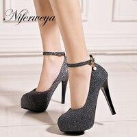 Spring Autumn Gold Women Pumps Sexy Ankle Strap Ladies Shoes Big Size 33 45 Super High