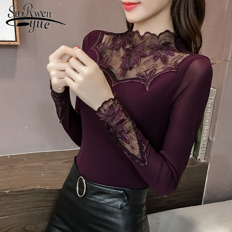 Women   Blouse   Fashion 2019 Lace   Blouse     Shirt   Long Sleeve Embroidery womens tops and   blouses   Causal   Shirts   feminine blusas 2067 50