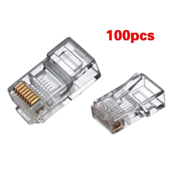 цена 2016 New RJ45 Connector Network Cable CAT5 Crimp Ends Plug x 100
