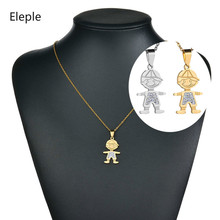 Eleple Stainless Steel Boy Pendant Necklaces for Boys Gifts Gold and Silver Color Mirco Zircon Inlaid Necklace Jewelry S-N502 sony xm n502