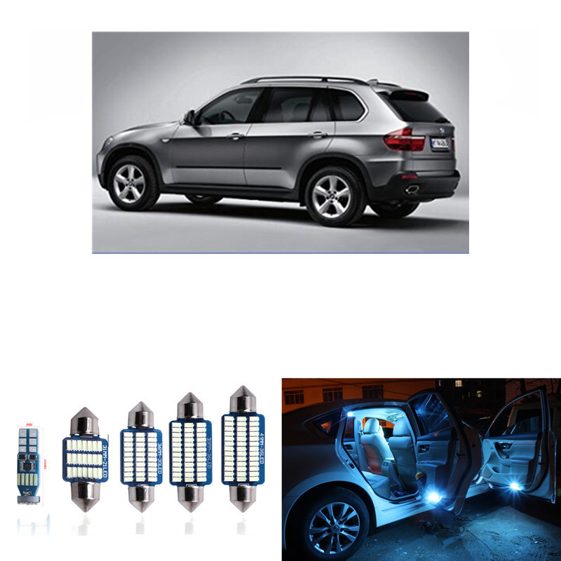 18pcs for BMW X5 M E70 2007-2012 Error Free Canbus LED Interior Lights Package Kits White ice blue Dome read lamp pink 2007 bmw x5 spoiler
