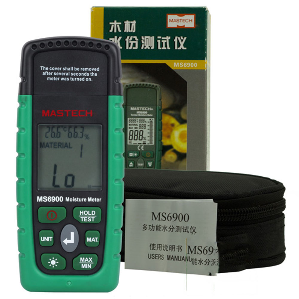 MASTECH MS6900 Moisture Tester 2-pin Humidity Temperature Detector Monitor with Backlight mc 7806 digital moisture analyzer price with pin type cotton paper building tobacco moisture meter