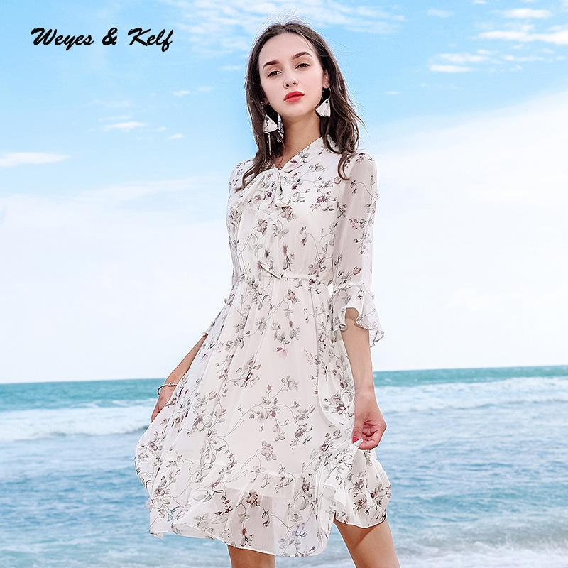 Weyes & Kelf Autumn V neck Print Floral Ladies Chiffon Dress Women 2018 Elegant Ruffles Dress Woman Robe Femme V neck With Bow