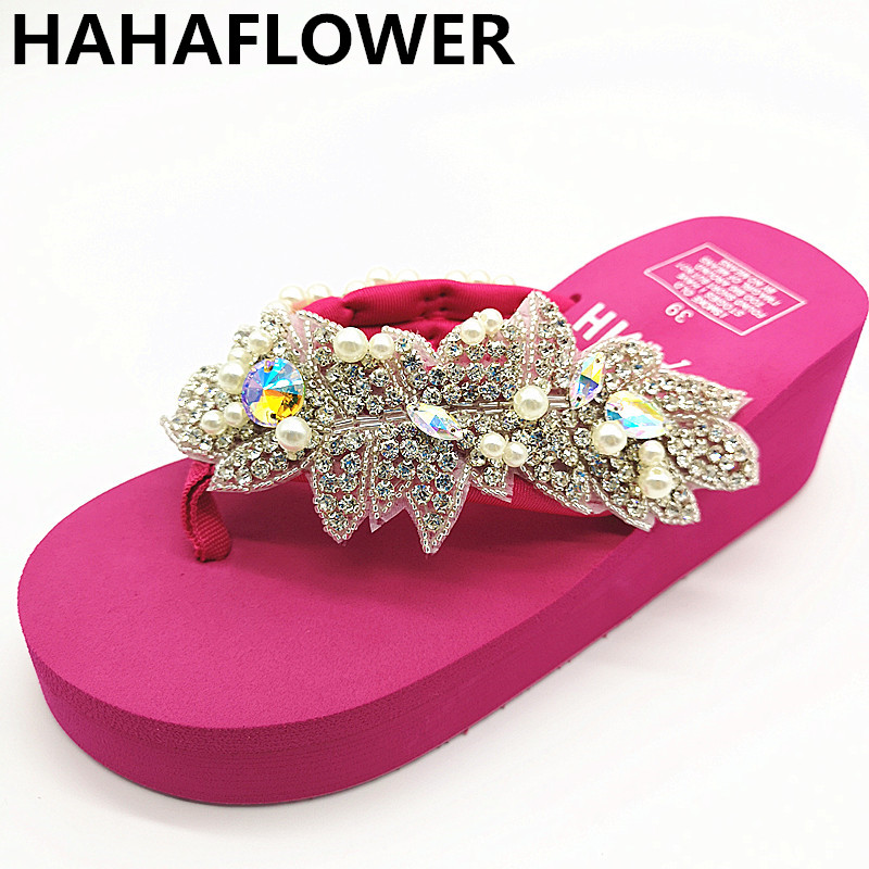 5ff92a0e7348 2019 bohemia sandals SEXY shiny rhinestones flip flops women wedge platform  summer beach slippers shoes women mules