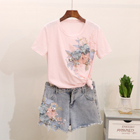 Summer Set Fashion Embroidery Sequin Flower Ladies Short sleeve T shirt Tops Jean Shorts Suit Women Casual Denim Short Pants Set