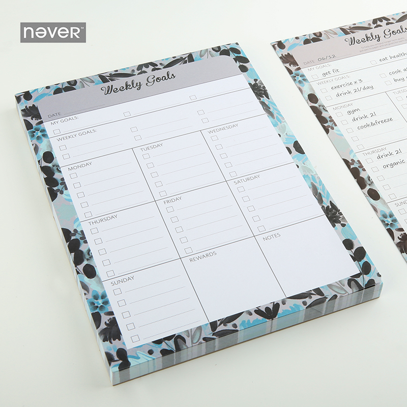 NEVER Colorful ocean series 2018 Monthly Memo Pad Weekly Planner Sticky Notes office accessories school business gift stationery jukuai 30 pcs lot color rainbow cloud memo pad sticky notes memo notebook stationery papelaria escolar school supplies 7162