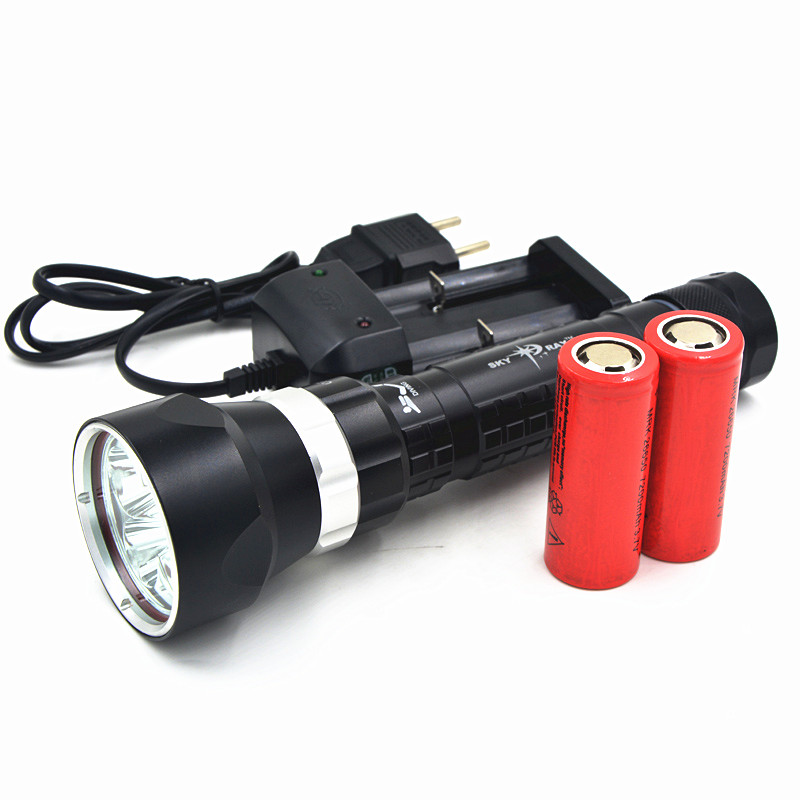 Underwater 100M 8000LM 5x XM-L2 T6 LED Diving Flashlight Waterproof Dive Torch Lamp With 4x 26650 Battery + Charger super bright led diving torch 4x xml t6 led 100m underwater 6000 lumens scuba diving flashlight dive lamp battery charger
