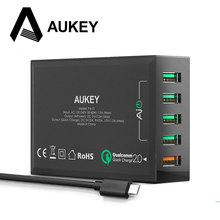 Aukey быстрая зарядка 2.0 5 порта usb смарт-зарядное устройство настольного путешествия зарядка для samsung galaxy s6 edge s5 iphone 7 6 s huawei и более