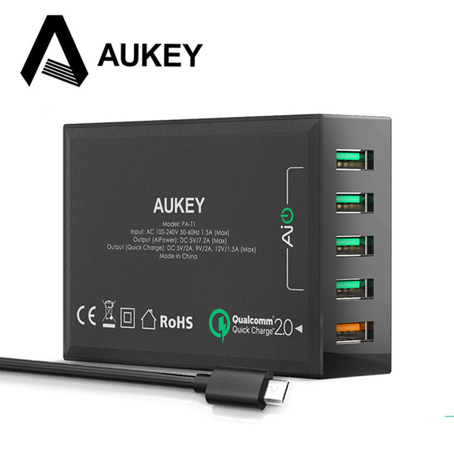 AUKEY Quick Charge 2.0 5 Ports USB Smart Charger Desktop Travel Charging for Samsung galaxy s6 edge S5 iPhone 7 6s Huawei &More