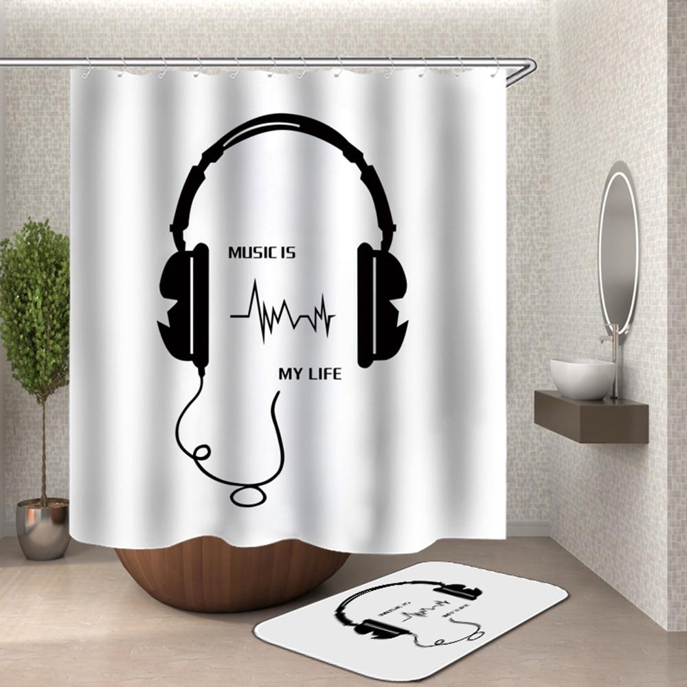 Musical Shower Curtain Microphone Listen To Music Bath Curtain Music Life Black And White Bathroom Curtain Earphone Love Music Shower Curtains Aliexpress