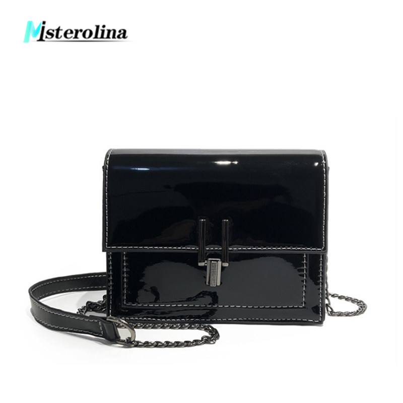 New fashion Patent Leather shoulder bags women mirror chain bag cover design messenger crossbody bag small flap shopping handbag