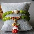 Модный 8 мм женщин Peridot бусины браслет лаки керамическая сокровищ кот кулон ювелирные изделия браслет многослойные цепи натуральный камень
